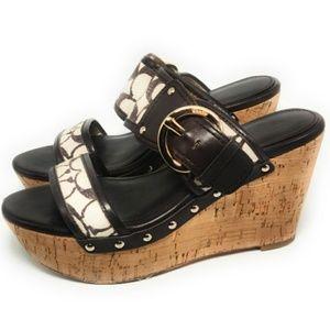 Coach Cortnee Platform Wedge Slide Sandals Leather
